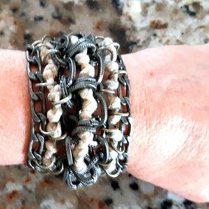 NWOT Handmade Metal & Hemp Bracelet